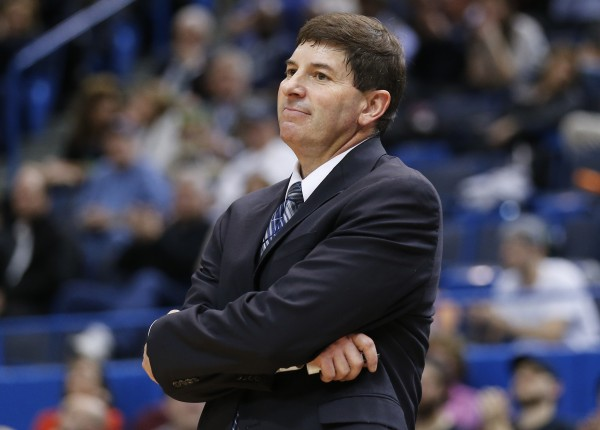 University of Maine head coach Ted Woodward watches from the sideline as his team plays UConn in Hartford, Conn., earlier this month.