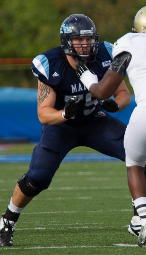 Joe Hook, an offensive tackle from Westfield, Mass., has anchored an offensive line for the University of Maine that has helped pave the way to a 10-2 season.
