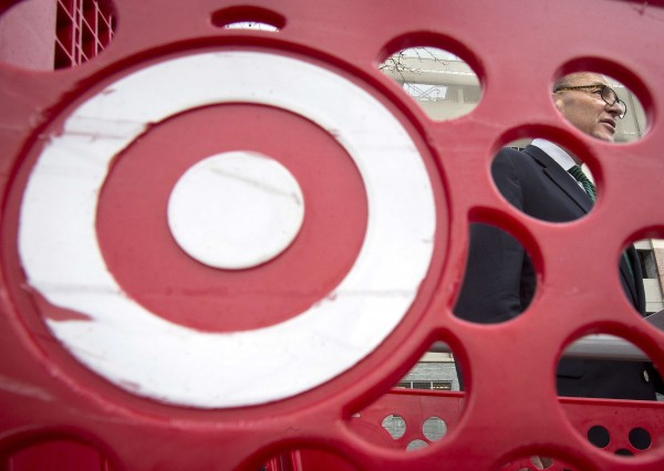 U.S. Sen. Charles Schumer is pictured through a Target shopping cart, as he holds a news conference about the massive credit card hack that has affected 40 million Target customers, in New York in this December 22, 2013 file photo.