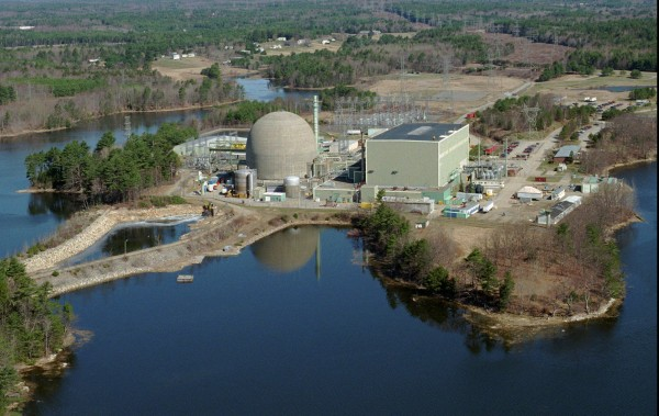 This April 14, 1998 file photo shows the defunct Maine Yankee nuclear power plant in Wiscasset, Maine.