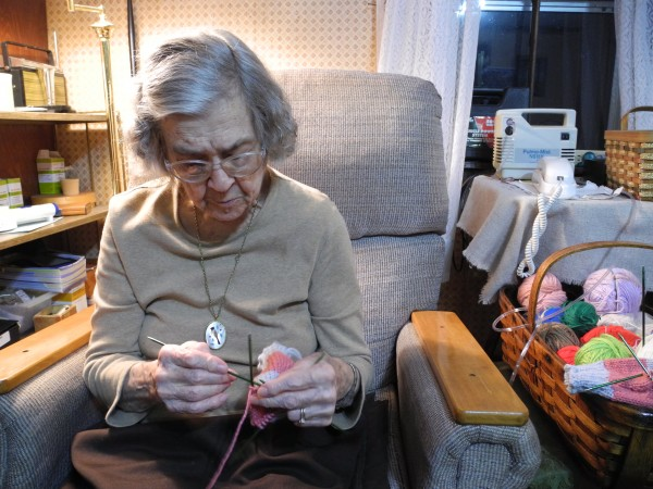95-year-old Coral Furrow knit 60 pairs of mittens this year for kids in need, and hasn't slowed down. &quotYou use it or lose it, when you get to be my age,&quot she said.