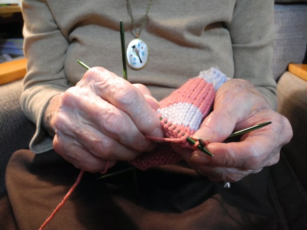 Coral Furrow, 95, has knitted a lot of mittens with these lined hands.