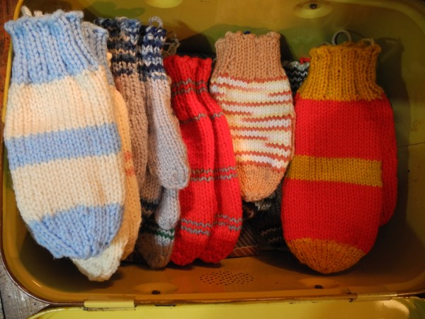 Some of the mittens that 95-year-old Coral Furrow makes and donates to Waldo County kids in need.
