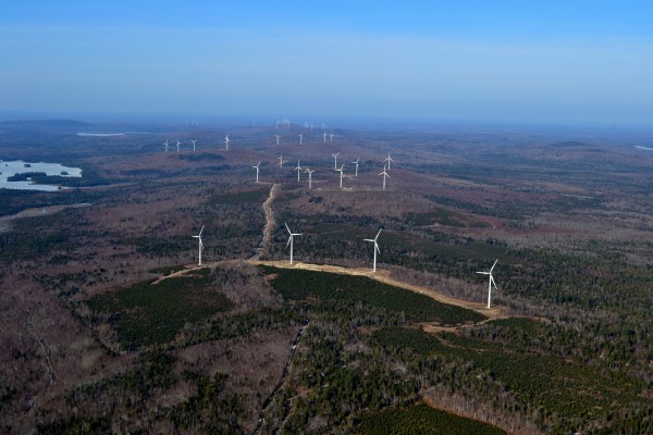 An aerial photo, taken March 18, 2012 of First Wind's 60 megawatt, 200 wind turbine Rollins Wind project, eight miles east of Lincoln, Maine.