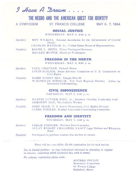This event program from a May 1964 symposium on the Biddeford campus of what was then St. Francis College lists speakers, including famed civil rights leader Rev. Martin Luther King, Jr.