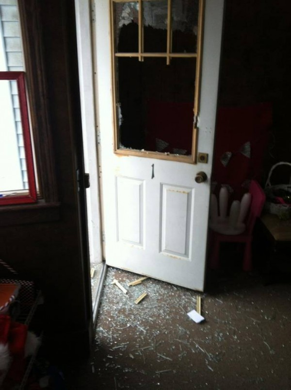 A window was destroyed at Kid Friendly on Water Street in Skowhegan. Police are looking for a suspect who broke into four downtown Skowhegan businesses late Sunday night or early Monday morning.