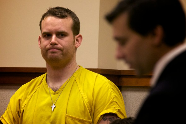 Austin Baker, 27, of Yarmouth is arraigned Monday at Cumberland County Superior Court on charges of aggravated assault, domestic violence criminal threatening and the obstruction of the reporting of a crime.
