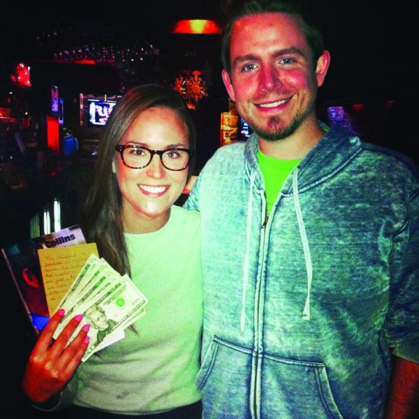 Seth Collins of Kentucky handed a $500 tip to waitress Taylor Dube on Wednesday after dining at The Portsmouth Gas Light Co. Pizza Pub in Portsmouth.