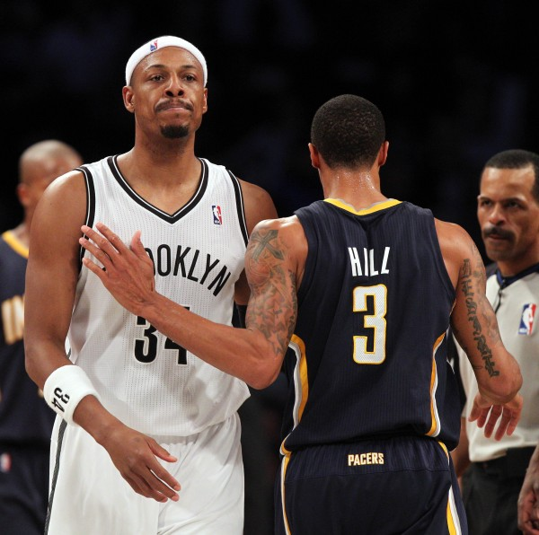 Paul Pierce (left) of the Brooklyn Nets has been fined $15,000 by the NBA for his foul on Indiana's George Hill (3) during Monday nights' game in New York.