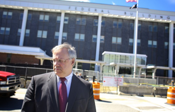 Robert Keach is shown outside federal court in Bangor earlier this year.