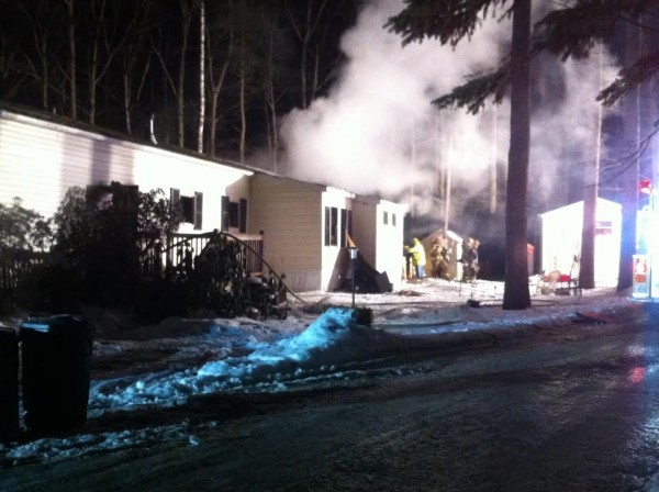 A two-alarm fire destroyed a mobile home on Starboard Lane off Staples Point Road early on Christmas Eve.