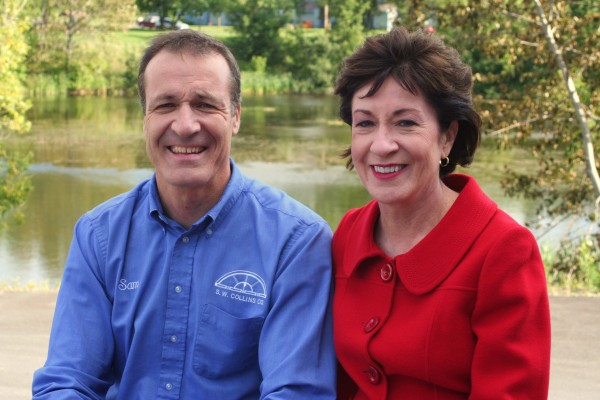 U.S. Sen. Susan Collins and her brother Sam beside Collins Pond in Caribou