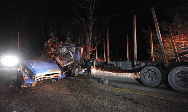 A pickup truck and a tractor-trailer collided on Rebel Hill Road in Clifton on Monday evening.
