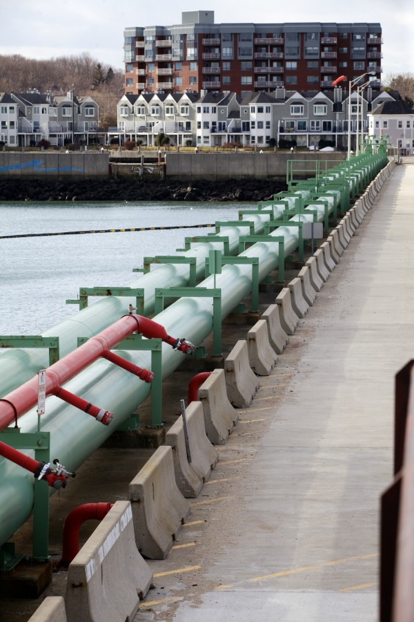 Oil conduit leads away from the Portland Pipe Line Corporation's terminal facility on the South Portland water front Friday Feb. 1, 2013.
