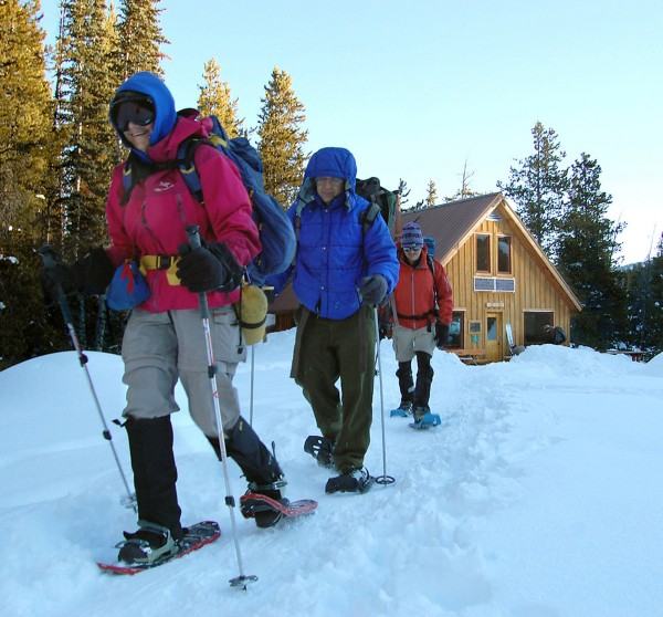Linda Jagger, Russell Patterson and Tom Jagger leave MacNamara Hut for an 8-mile snowshoe to Margies Hut in the Colorado Rockies.