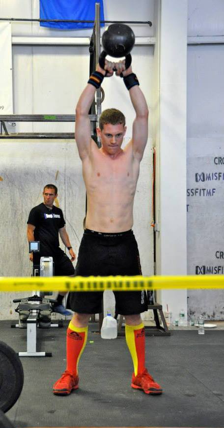 Hunter Grindle competes during a Crossfit competition.