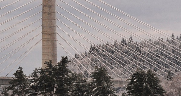 The Maine Department of Transportation closed the Penobscot Narrows Bridge on Monday due to large chunks of ice falling from the support cable onto the bridge deck.