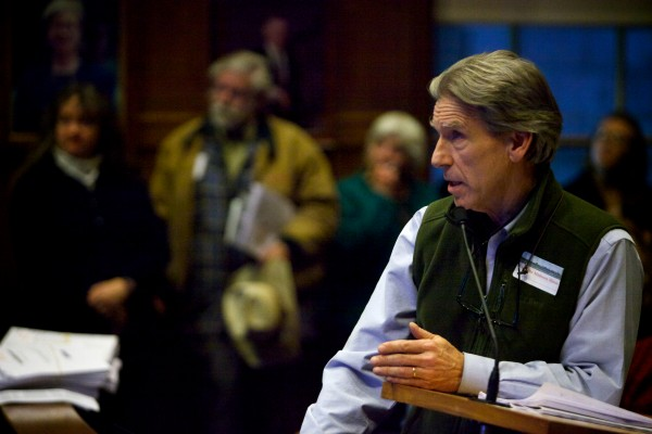 Peter Monro of keepportlandlivable.com was the first of 50 speakers during the public comment portion of the Portland Planning Board meeting Tuesday night. Monro spoke against the $150-million Midtown project.