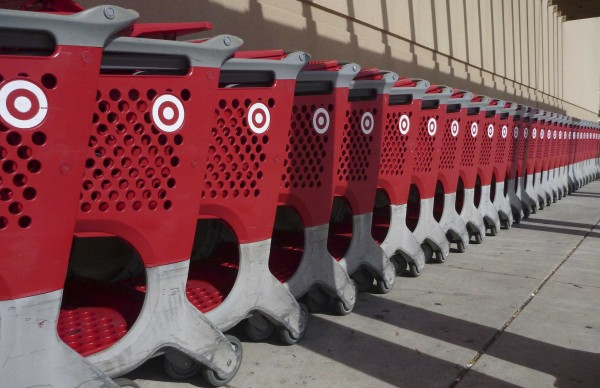 Merchandise baskets are lined up outside a Target department store in Palm Coast, Florida, December 9, 2013.