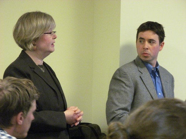 Michele LaForge and Jonathan Amory discuss the academic approach proposed to be used at Baxter Academy for Technology and Science before the Maine Charter School Commission in Augusta in a March file photo. LaForge is the academy's head of school, while Amory teaches at the academy.