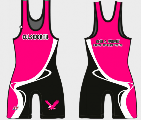 The singlets worn by Ellsworth High School wrestlers this season have the pink colors synonymous with cancer research and are emblazoned with the Beth C. Wright Cancer Resource Center.