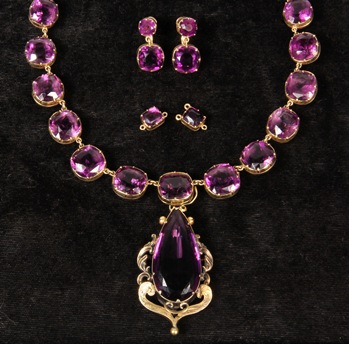 Antique 14K gold and amethyst necklace and earrings that brough $9,200