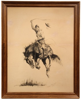 'A Running Bucker', ink drawing by Frederic Remington (NY/KS, 1861-1909) that sold for $184,000
