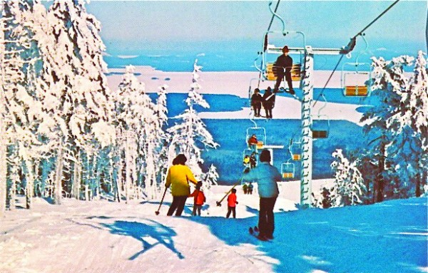 Skiing the beautiful view at Squaw Mountain near Greenville, circa 1967. Photo courtesy of the Moosehead Historical Society