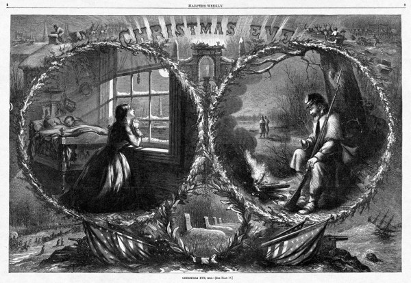 Artist Thomas Nast created this poignant art depicting a soldier and wife separated on Christmas Eve during the Civil War. As the Union infantryman sits beside a crackling fire and reads a letter from home, his wife kneels by her children's bedroom window and prays beneath a full moon. Different wartime scenes frame the two main images.