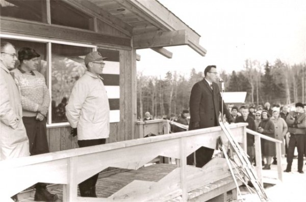 Maine's Governor Reed addresses the crowd at the opening of Squaw Mountain Ski Area near Greenville. Photo courtesy of the Moosehead Historical Society.