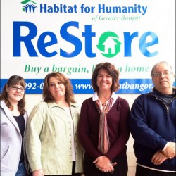 PICTURED L to R: Ashley Donovan, ReStore Manager Amanda Charette, Operations Manager Lynn Hempen, Executive Director Steve Hicks, Construction Manager