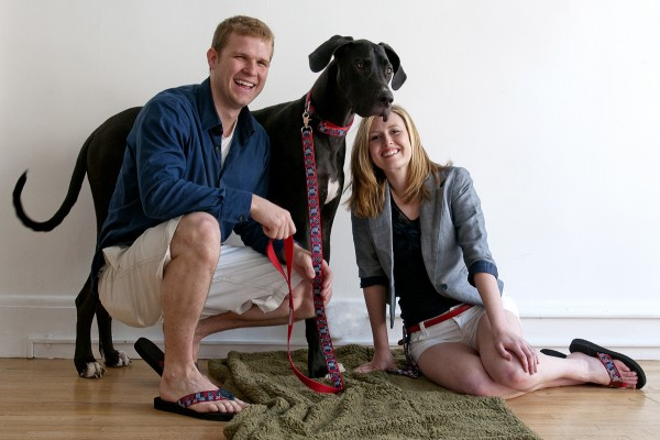 Kristen and Josh McNutt and their Great Dane Grizzly showcase products by Dogn'i 