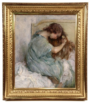 Oil on canvas painting by L. G. Lamur that brought $21,850