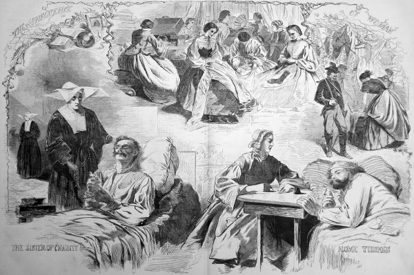 While employed by Harper's Weekly as an artist during the Civil War, Winslow Homer drew this detailed illustration depicting the various war-related rolls played by women: (from top, clockwise) sewing socks and other clothing for soldiers; serving as hired laundresses in military camps; writing a letter for a wounded soldier; and, as Catholic Sisters of Charity, caring for sick and wounded soldiers.