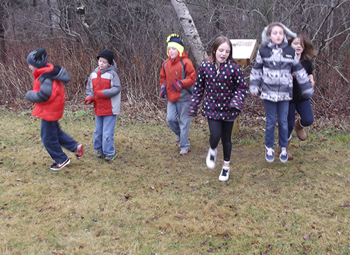 Students jog in place at Owls Head Central School.