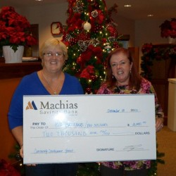 Machias Savings Bank presents Community Development grant check