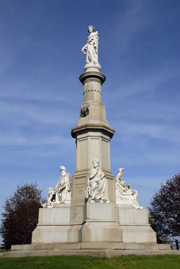 Erected on the site where President Abraham Lincoln delivered the Gettysburg Address on Nov. 19, 1863, the Soldiers National Monument rises high above the Gettysburg National Cemetery where many Union soldiers killed during the Battle of Gettysburg lie buried.