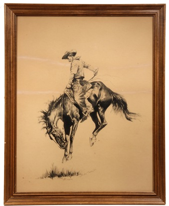 'Sun Fisher', ink drawing by Frederic Remington (NY/KS, 1861-1909) that brought $166,750