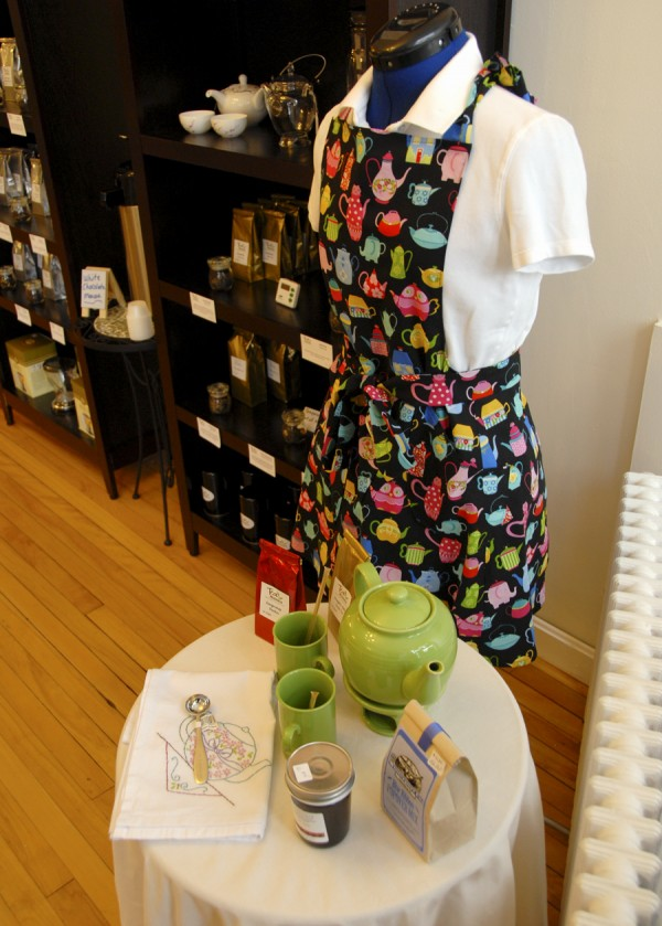 Among the tea-related products sold at Tea Maineia at 115 Main St., Winterport are hand-sewn tea aprons, tea pots, tea cups and mugs, and specialty Maine foods associated with tea drinking.