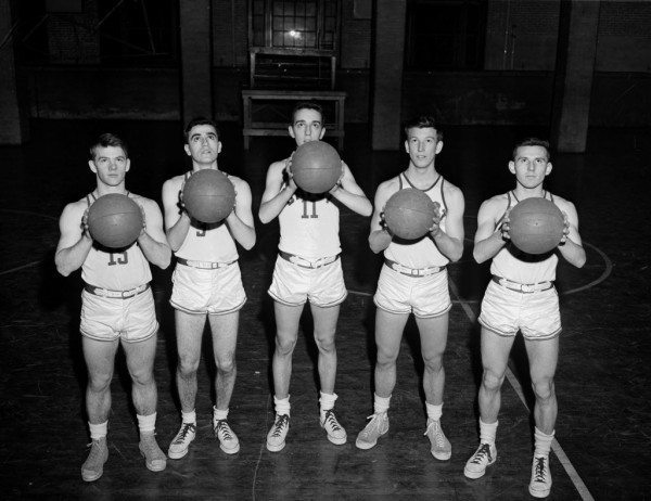 Picture from the Past Bangor Daily News File Photo by Danny Maher Photographed on Monday, Dec. 17, 1951, these five men will see much of action as John Bapst high school seeks a return to the tournament wars next spring. From left are Leo Trainor, Jim Delaney, Virgil LeBlanc, Guy Carroll and Jim Gillis.