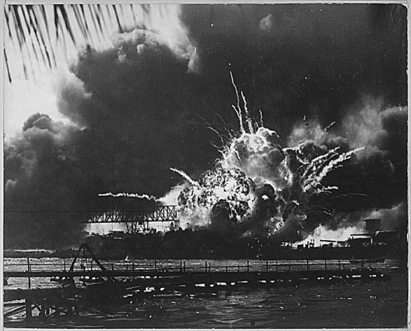 The USS Shaw explodes during the Japanese raid on Pearl Harbor, Hawaii Dec. 7, 1941.