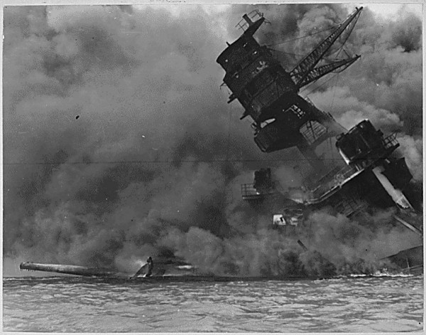 A view of the USS Arizona burning after the Japanese attack on Pearl Harbor in Hawaii Dec. 7, 1941.