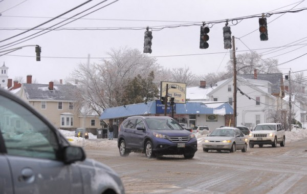 Several traffic lights were not functioning along Hammond Street in Bangor. Power outages were reported in several communities due to the ice storm.