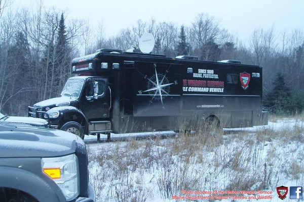 Maine Warden Service Mobile Command Vehicle at the scene of Friday's search for Renald Poulin, 69, of Quebec, who has been missing for nearly three weeks.