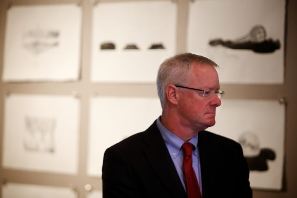 Sen. Richard Woodbury, I-Yarmouth, waits to speak at a press conference in Portland Tuesday where he expressed his disappointment in EqualityMaine's decision to endorse Mike Michaud for governor instead of Eliot Cutler.
