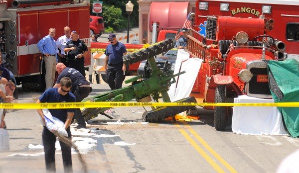A man died in an accident during the 4th of July parade in Bangor. The person died as an antique tractor and antique fire truck collided.