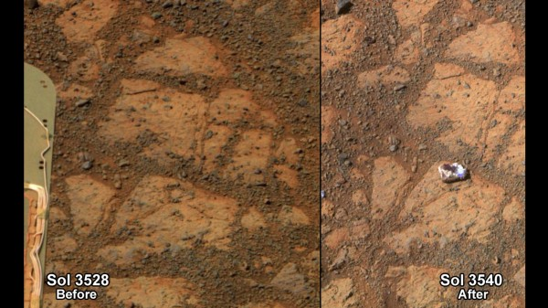 A NASA combination handout photograph shows the surface of Mars in front of the Mars rover on December 26, 2013, left, and on January 8, 2014. NASA said the mysterious appearance of a doughnut-sized rock in the interim was likely a result of the rover taking a short drive in the area, probably moving the rock.