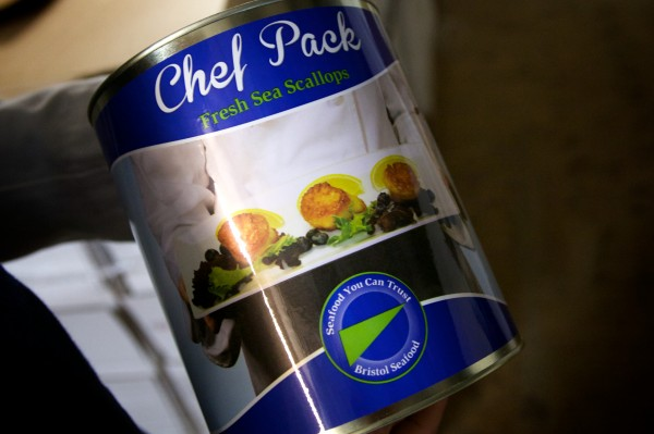 Portland's Bristol Seafood recently unveiled its new &quotchef pack&quot cans of premium, unbroken scallops for use in restaurants. Each can holds eight pounds of scallops and is fitted with a date and temperature indicator.