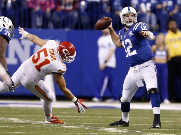 On Jan. 4, Indianapolis Colts quarterback Andrew Luck (12) throws a 64 yard touchdown pass in the fourth quarter during the 2013 AFC wild card playoff football game at Lucas Oil Stadium.