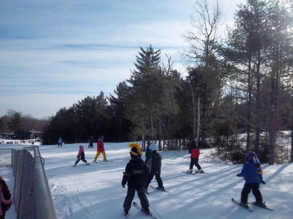 A ski school class on the slopes at Hermon Mountain in late December. Early snowfall allowed the mountain to open on Fri., Dec. 13.
